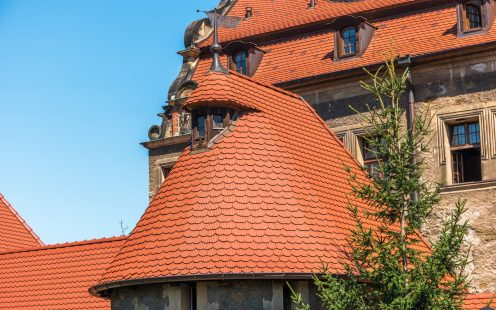 Czocha castle Poland with beaver roof tile